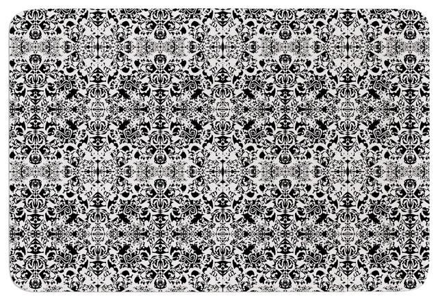 Mydeas Fancy Damask Black White Gray Memory Foam Bath Mat