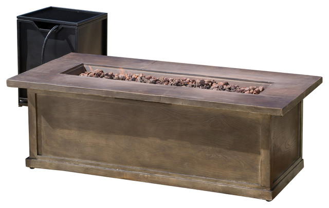 Pablo Outdoor 56 Rectangular Propane Fire Table Brown Wood