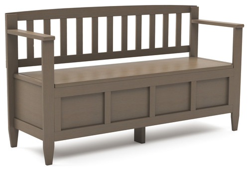 Brooklyn Solid Wood 48 Contemporary Entryway Storage Bench, Farmhouse Gray