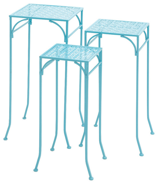 Clic And Lovely Inspired Blue Polished Beautiful Metal Plant Stand Set Of 3