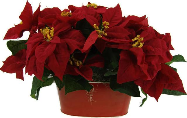 Beautiful Christmas Silk Poinsettia Floral Arrangement