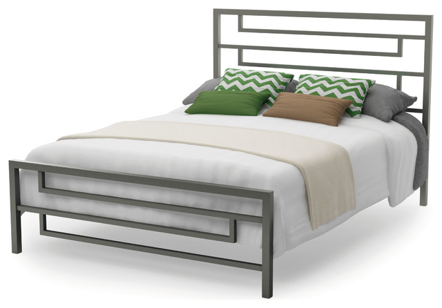 Temple Metal Bed, Magnetite/glossy Gray, Queen.
