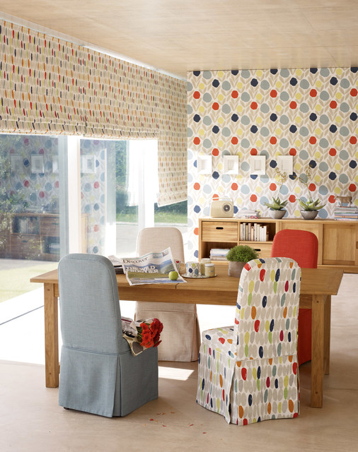Laura ashley serena wallpaper contemporary living room for Bright wallpaper for living room