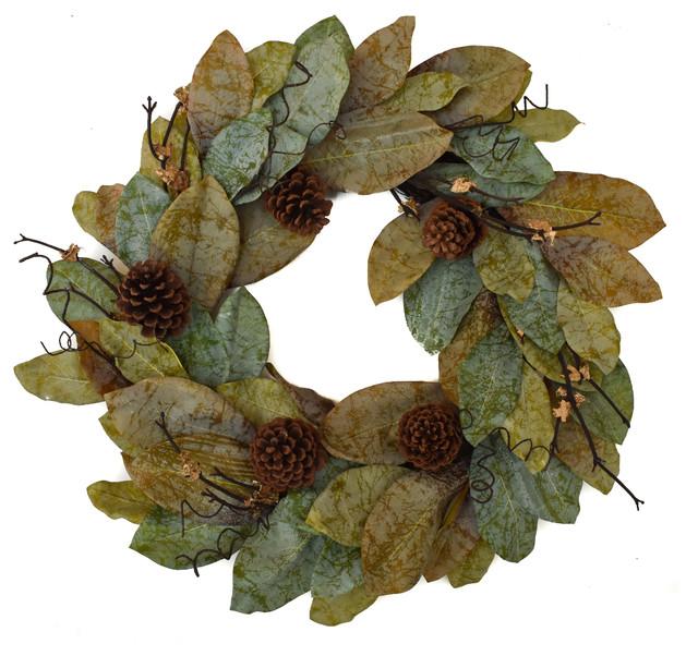 "Forest Magnolia Wreath, 24"""