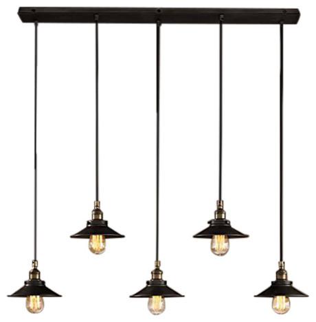 pliny 5arm hanging light fixture matte black