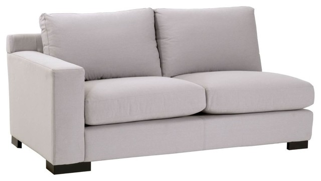 2-Seat Arm Sofa, Light Gray Upholstery - Transitional - Sectional ...