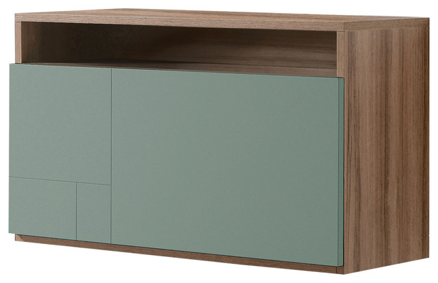 Wall-Mounted Desk Unit, Walnut and Green