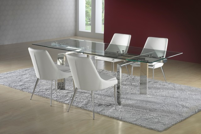 Unique modern extendable steel and glass dining table for Unusual extending dining tables