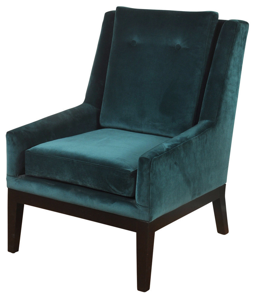 Silk Road Lounge Chair Semi Attached Back Rest Teal Blue