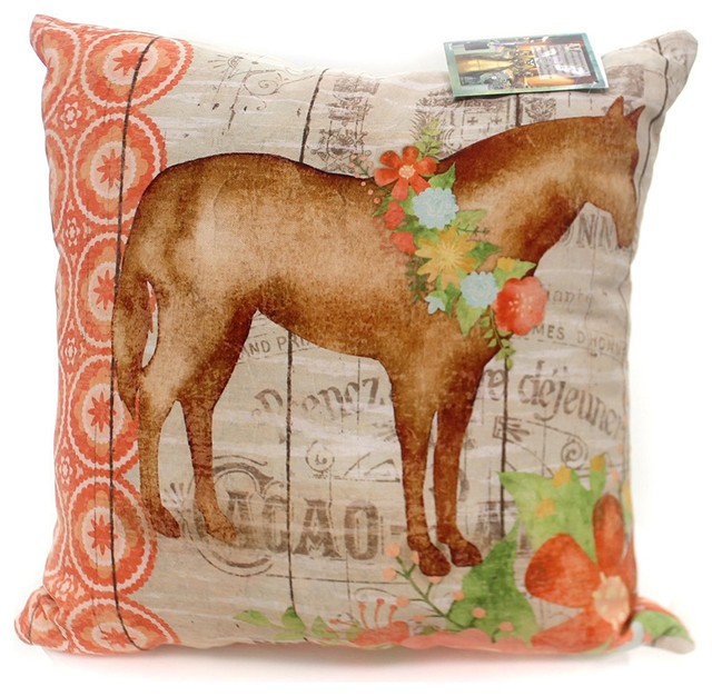 Home And Garden Farm Floral Horse Pillow Fabric Indoor Outdoor Pony Slffhr Farmhouse Outdoor Cushions And Pillows By Uber Bazaar