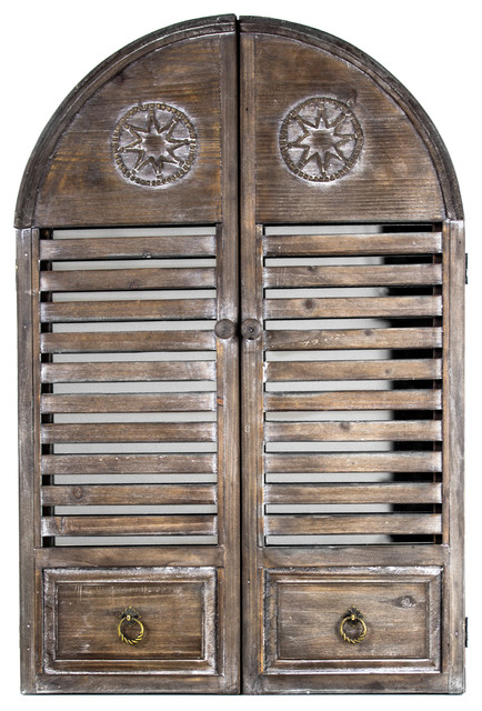 Rustic Cathedral Arch Window Shutter Wall Vanity Mirror.