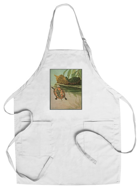 Chef's Apron, Nature Magazine, View of Two Turtles in a Pond