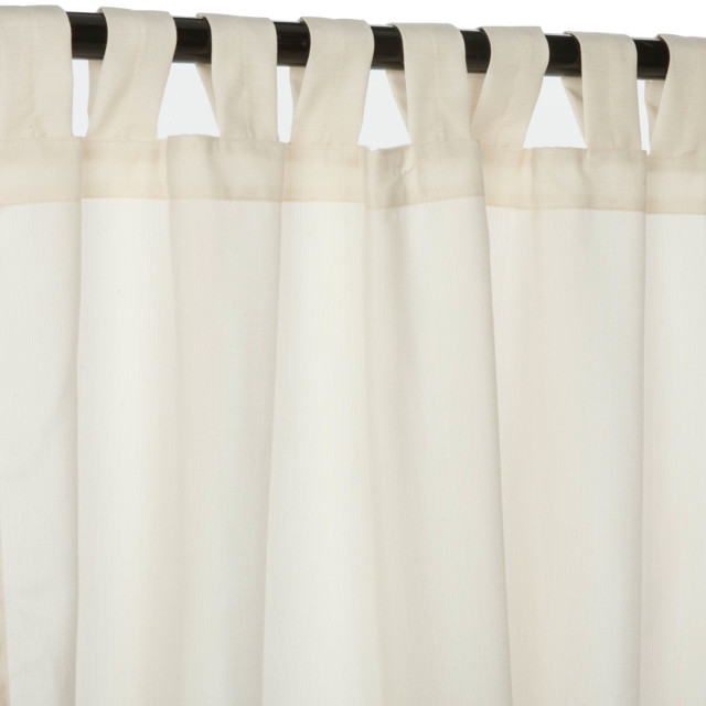 "Sunbrella 96"" Tab Top Outdoor Curtains, Spectrum Eggshell."