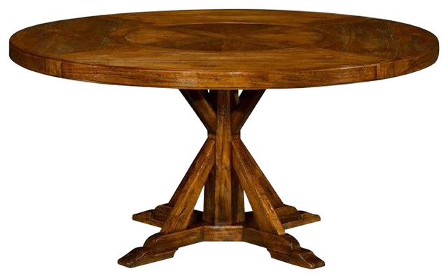 60 Country Walnut Round Dining Table With Inbuilt Lazy Susan Traditional Dining Tables By Jonathan Charles Fine Furniture