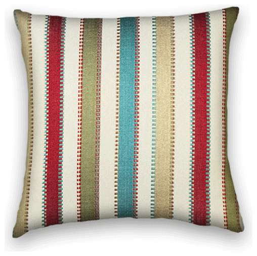 aqua olive gold red striped throw 20x20 pillow cover with insert traditional