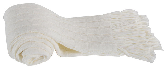 100% Acrylic Cashmere Throw Blanket, White.