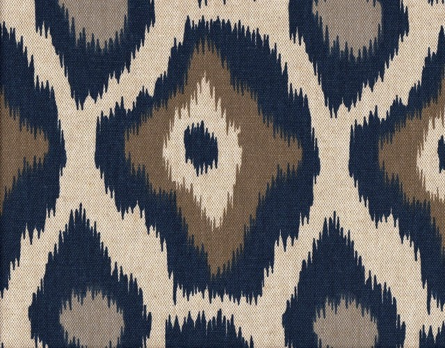 Shower Curtain Adrian Indigo Blue Taupe Beige Geometric