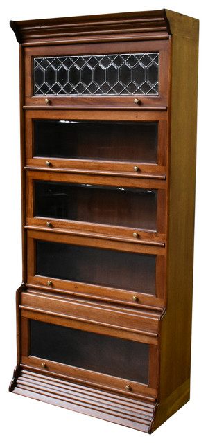 Legacy Solid Mahogany Wood 5 Stack Barrister Bookcase Light Brown Walnut