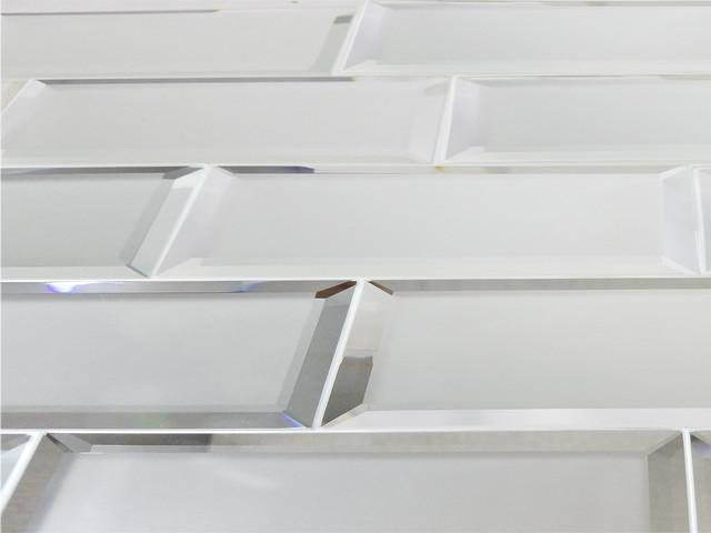 "Silver Matte Glass Mirror Subway Tile Backsplash, 3""x12"", Set Of 8."