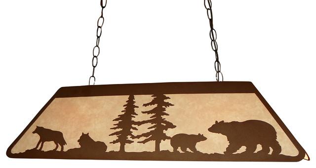 Superior Bear And Wolf Scene Medium Pool Table Lamp Rustic Pool Table Lights