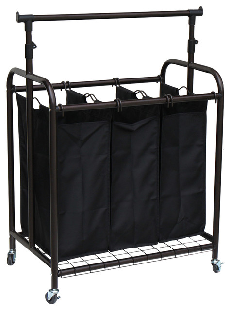 3-Bag Rolling Laundry Sorter With Adjustable Hanging Bar, Bronze.