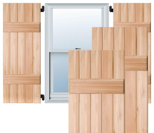 18 X 25 Exterior 5 Board Western Red Cedar Board N Batten Shutters Black Traditional