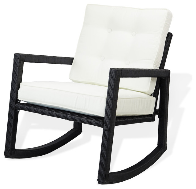 Admirable Patio Resin Rocking Chair Black Caraccident5 Cool Chair Designs And Ideas Caraccident5Info