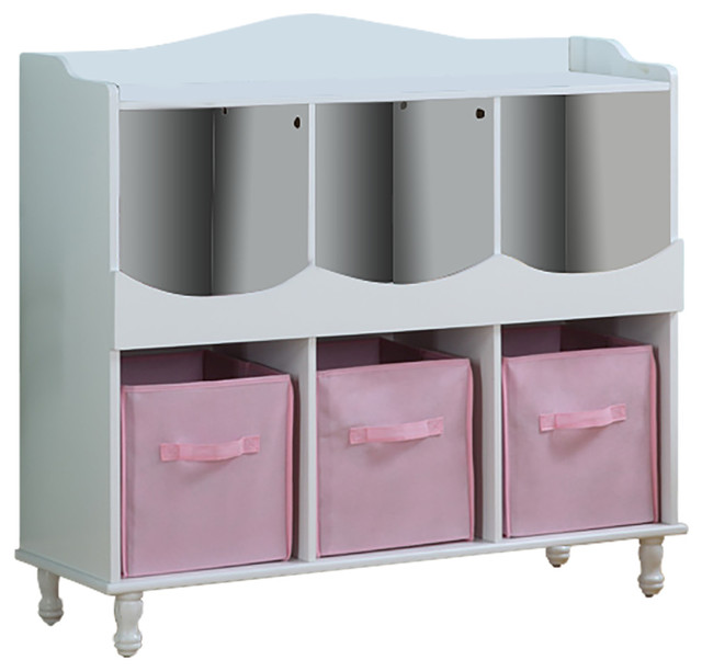 Wood 6 Cubby Storage Cabinet With 3 Pink Fabric Bins White Finish