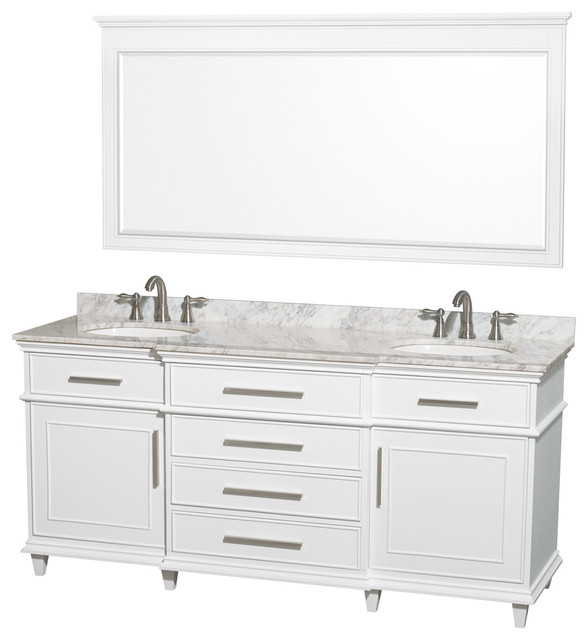 Wyndham Collection 72 Berkeley White Double Vanity And Carrera Marble Top.