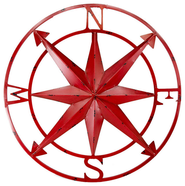 20 Quot Distressed Finish Metal Compass Rose Nautical Wall