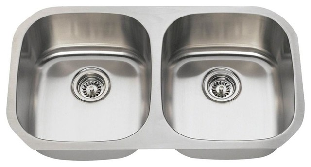 Equal Double Bowl Stainless Steel Sink, 18 Gauge, Sink Only
