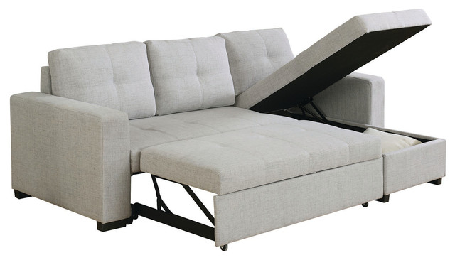 Linen Like Fabric Upholstered Sectional Sofa Bed With