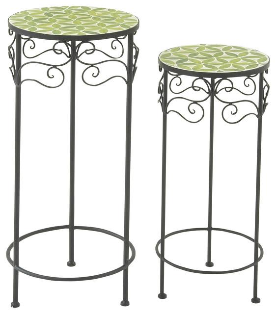 Metal mosaic plant stand set of 2 green moderno - Soportes para macetas ...