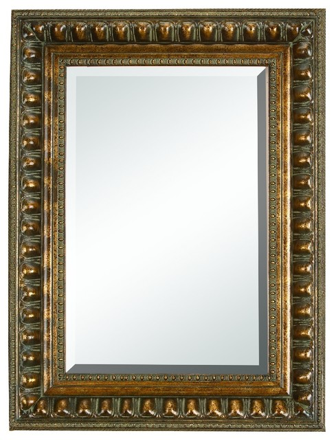 Wood Bevel Mirror Wall Decor With Classic Look.