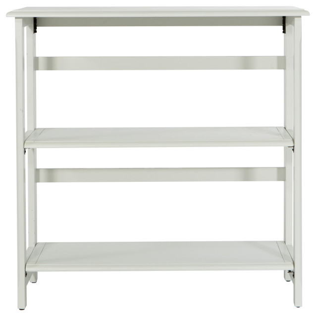 Brookings 3 Shelf Bookcase, White With Folding Assembly