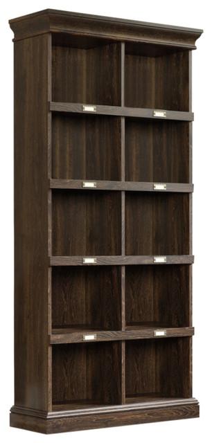 Sauder Barrister Lane 10 Cubby Tall Bookcase in Iron Oak