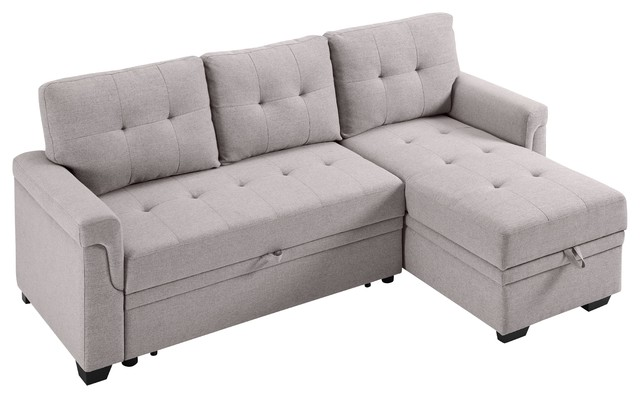 Lucca Linen Reversible Sleeper Sectional Sofa, Light Gray