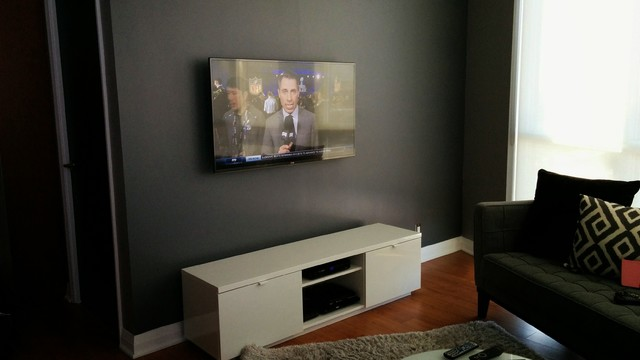 TV Home Theatre Speaker Wall Mount Installation With Concealed Cords Contemporary Living Room