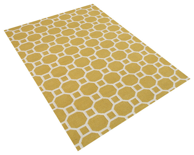 Oslov geometric rug yellow and cloud cream 5 39 x8 for Geometric print area rugs