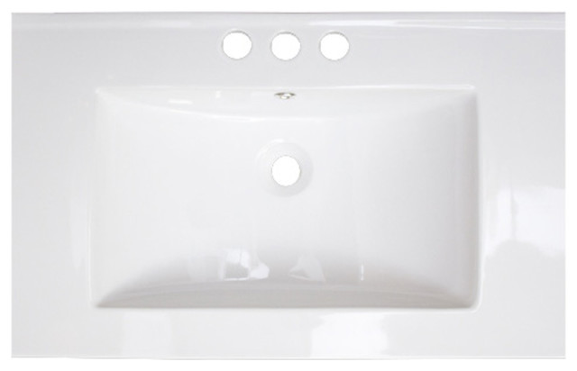 23.75x18.25 Ceramic Top, White Color For 4o.c. Faucet.