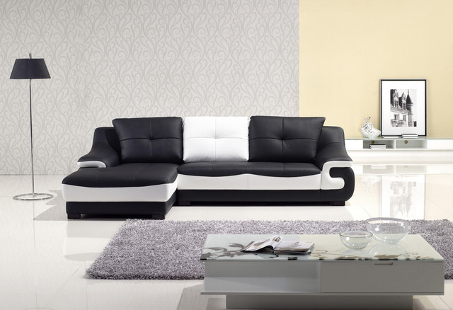Unique Black White Leather Match Sectional Sofa Set Couch