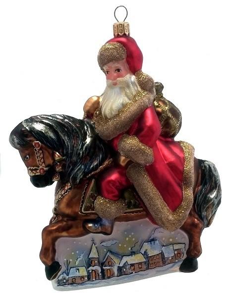 santa claus riding a horse polish mouth blown glass christmas ornament