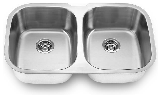 18-Gauge Stainless Steel Undermount Double Bowl Kitchen Sink.