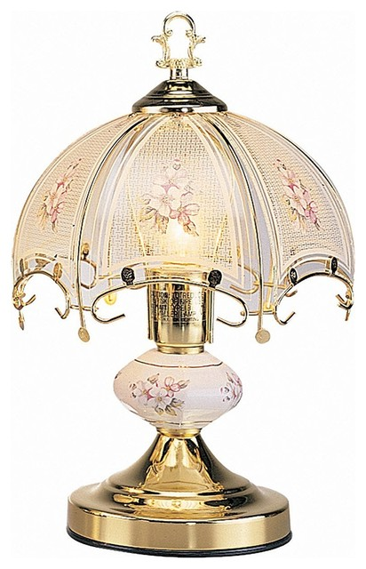 14 Quot Touch Lamp With White Glass Floral Theme Gold