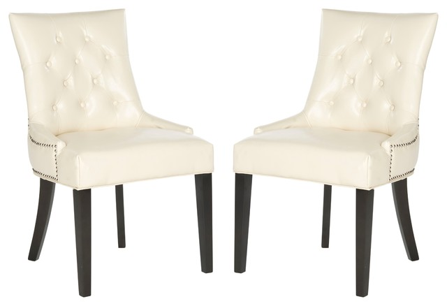 Kalmin Tufted Dining Side Chairs Set Of 2 Cream Faux Leather