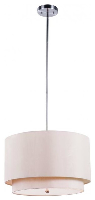 Three Light Brushed Nickel Drum Shade Pendant.