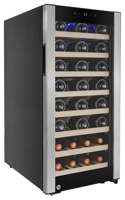 Akdy 38 Bottles Single Zone Touch Control Compressor Electric Wine Cooler Cellar.
