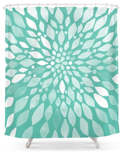 Society6 Radiant Dahlia In Teal And White Shower Curtain