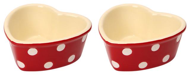 Dexam Set of 2 Polka Dot Heart Ramekins, Claret Red