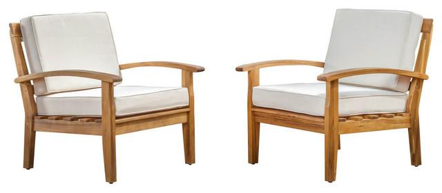Preston Outdoor Wooden Club Chairs, Beige, Set of 2